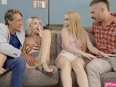 Stepdads switching their two petite peaches teen stepdaughters