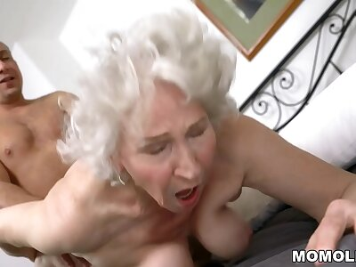 Very elderly granny Norma drilled by young stud