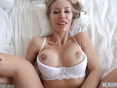 Hot Smoking female parent takes her stepson purchase her niche with an increment of lets hims slam her milf horny pussy!