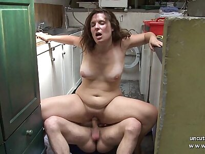 Melancholy chubby french brunette fucked hard just about the kitchen